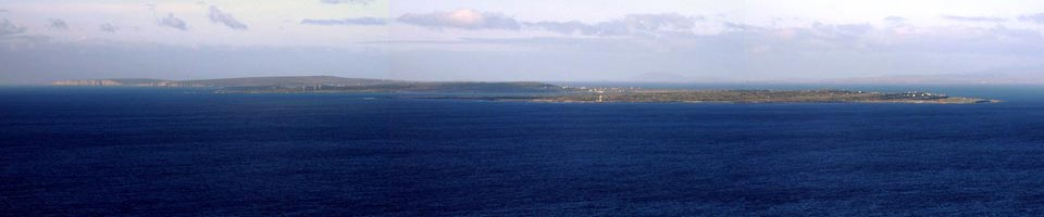 View of the Aran Islands from Harbour View Bed and Breakfast Doolin. Travel there be ferry from Doolin.